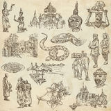 Kambodja - een hand getrokken illustraties Frehandpak vector illustratie