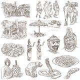 Kambodja - een hand getrokken illustraties Frehandpak Stock Afbeeldingen