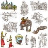 Kambodja - een hand getrokken illustraties Frehandpak Stock Afbeelding