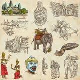 Kambodja - een hand getrokken illustraties Pak uit de vrije hand stock illustratie