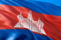 kambodjansk flagga vinkande design för flagga 3D Det nationella symbolet av Cambodja, tolkning 3D Kambodjanska nationella färger  vektor illustrationer