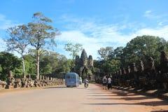 kambodscha Angkor Thom City Das Südtor Siem- Reapprovinz Siem- Reapstadt lizenzfreies stockfoto