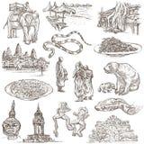 Kambodscha - eine Hand gezeichnete Illustrationen Frehand-Satz Lizenzfreie Stockfotos