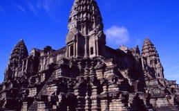 Kambodscha: Khmer Tempel-Ruinen Ankor Wat im Regenwald von Siam Reap lizenzfreies stockbild