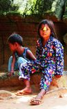 Kambodscha-Mädchen bei Angkor Wat Stockbild