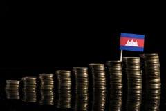 Kambodschanische Flagge mit Los Münzen lokalisiert auf Schwarzem Lizenzfreies Stockbild