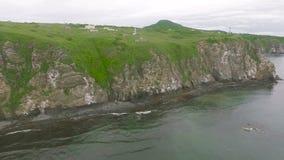 kamchatka Νησιά στο Ειρηνικό Ωκεανό Πέταγμα στο copter απόθεμα βίντεο