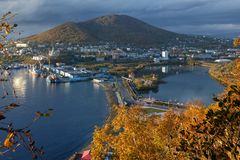 Autumn view of Petropavlovsk-Kamchatsky City and Avacha Bay in Pacific Ocean. Kamchatka city landscape: autumn view of Petropavlovsk-Kamchatsky City and seaport Stock Photography