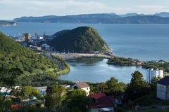 Kamchatka Peninsula: Petropavlovsk-Kamchatsky City, Avacha Bay and Pacific Ocean Stock Photo