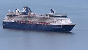 Cruise Liner Celebrity Millennium sailing in Pacific Ocean. Zoom in stock footage