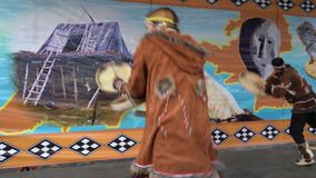 Incendiary dance of indigenous inhabitants of Kamchatka with tambourine stock footage