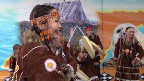 Womens dancing in national clothing indigenous inhabitants Kamchatka stock video
