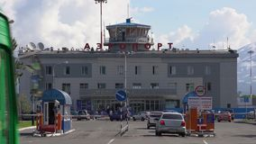 Summer view of airport terminal Petropavlovsk-Kamchatsky City. Time lapse stock video footage