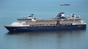 Aerial view of expedition Cruise Liner Celebrity Millennium in Pacific Ocean stock video footage