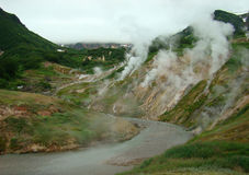 Kamchatka, the Valley of Geysers, Stained Glass. Kamchatka, fumaroles in the Valley of Geysers Stock Photography
