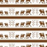 Kameel Naadloos patroon Vector illustratie Stock Afbeeldingen