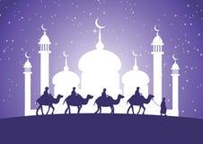 Kameel van de caravan de Moslimrit aan moskee vector illustratie