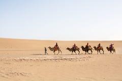 Kameelcaravan die door de zandduinen gaan in de Woestijn van Gobi, C Royalty-vrije Stock Afbeelding