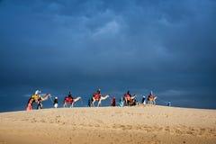 Kameelcaravan op woestijn in profiel tegen wolken blauwe hemel backgr Stock Fotografie