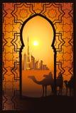 Kameelruiters in de woestijn dichtbij de stad van Doubai in arabesque fram royalty-vrije illustratie