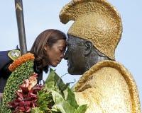 Kamehameha Kiss. Event:  King Kamehameha birthday celebration Royalty Free Stock Photo