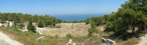 Kameiros, Rhodes panorama. A panorama of the Kameiros archaeological site on the Rhodes island, Greece. Taken in Summer 2008 Royalty Free Stock Photos
