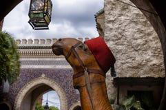 Kamel, das rotes Fez trägt Stockfotos