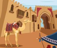 Kamel i arabisk ökenstad royaltyfri illustrationer