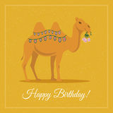 Kamel med blommor vektor illustrationer