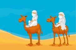 Kamel och arabs vektor illustrationer