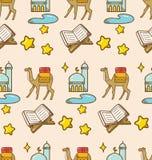 Kamel- och moskébakgrund för den ramadan festivalen vektor illustrationer