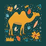 Kamel på grön bakgrund med blommor och sidor stock illustrationer