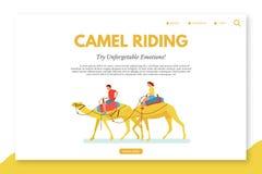Kamel som rider den plana mallen för vektorlandningsida royaltyfri illustrationer