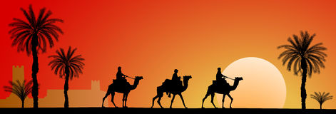 Kamel-Wohnwagen lizenzfreie abbildung