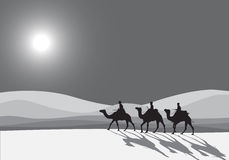 Kamel-Wohnwagenschattenbild Stockbilder
