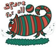 Kameleon en bal Stock Afbeelding
