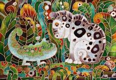 Kameleon en Tijger, Batik Stock Foto
