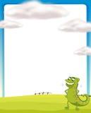 Kameleon pozycja na polu royalty ilustracja