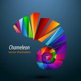 Kameleon van kleurendriehoeken embleem Stock Fotografie