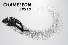 Kameleondeeltje Het silhouet van een kameleon wordt samengesteld uit kleine cirkels Vector illustratie Royalty-vrije Stock Fotografie