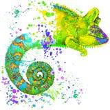 Kameleonillustratie met de geweven achtergrond van de plonswaterverf stock illustratie