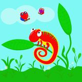 Kameleont i ängen - vektorillustration, eps stock illustrationer