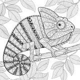Kameleont i zentanglestil Vuxen antistress färgläggningsida Arkivfoto