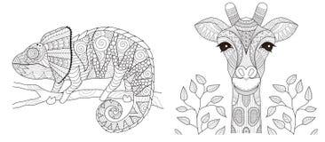 Kameleont- och giraffuppsättning för sida för färgläggningbok och annan utskrivaven produkt också vektor för coreldrawillustratio royaltyfri illustrationer