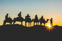 Kamelhusvagn med folk som går till och med sanddyerna i Saen Arkivfoton