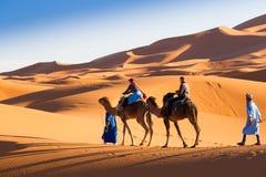 kamelhusvagn på ökensanden Arkivfoto