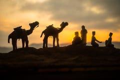 Kamelhusvagn som går till och med sanddyerna i den Sahara öknen, Marocco Kamel i ökenbegrepp arkivfoton