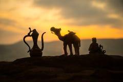 Kamelhusvagn som går till och med sanddyerna i den Sahara öknen, Marocco Kamel i ökenbegrepp royaltyfri bild