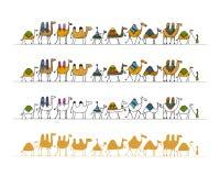 Kamelhusvagnen, skissar för din design royaltyfri illustrationer
