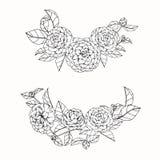 Kamelian blommar teckningen och skissar med linje-konst på vit backg Fotografering för Bildbyråer